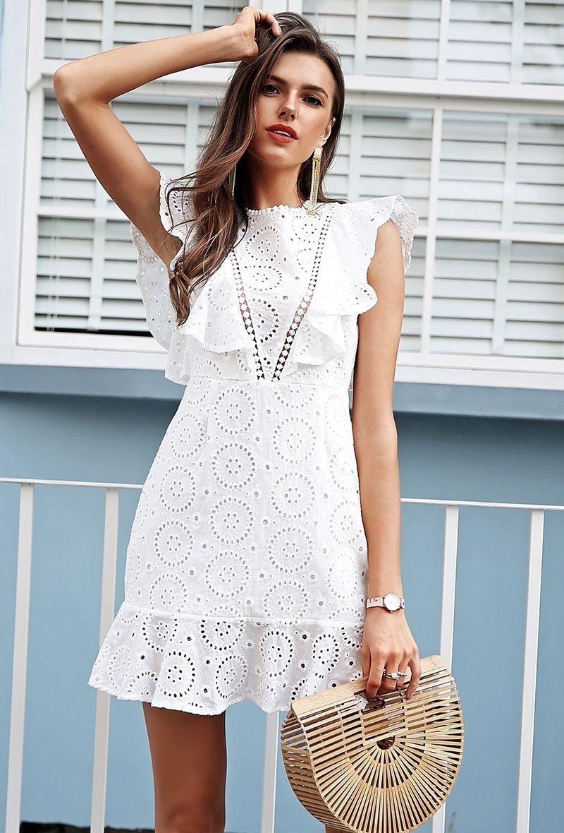 Amazing white lace mini everyday ruffle summer dress cotton bohemian party boho #summerdresses