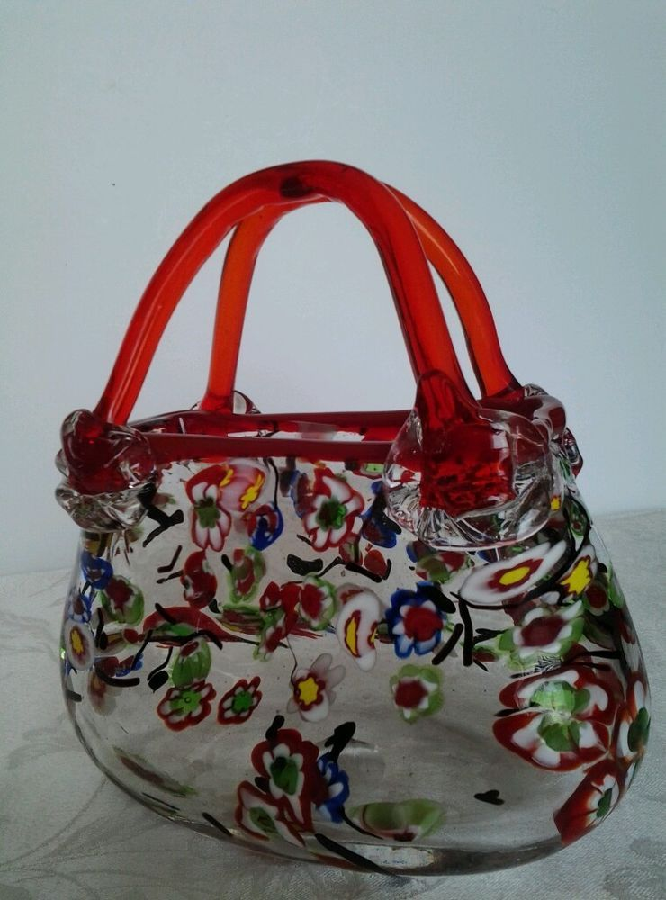 Murano Art Glass Purse Vase Flowers Millifiore Hand Blown Mint