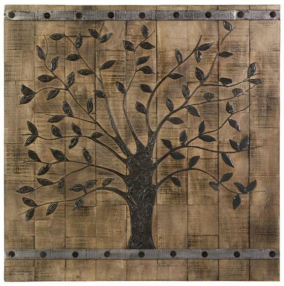 BARN DOOR Tree Of Life Wood WALL DECOR Plaque Rustic Country Art ...