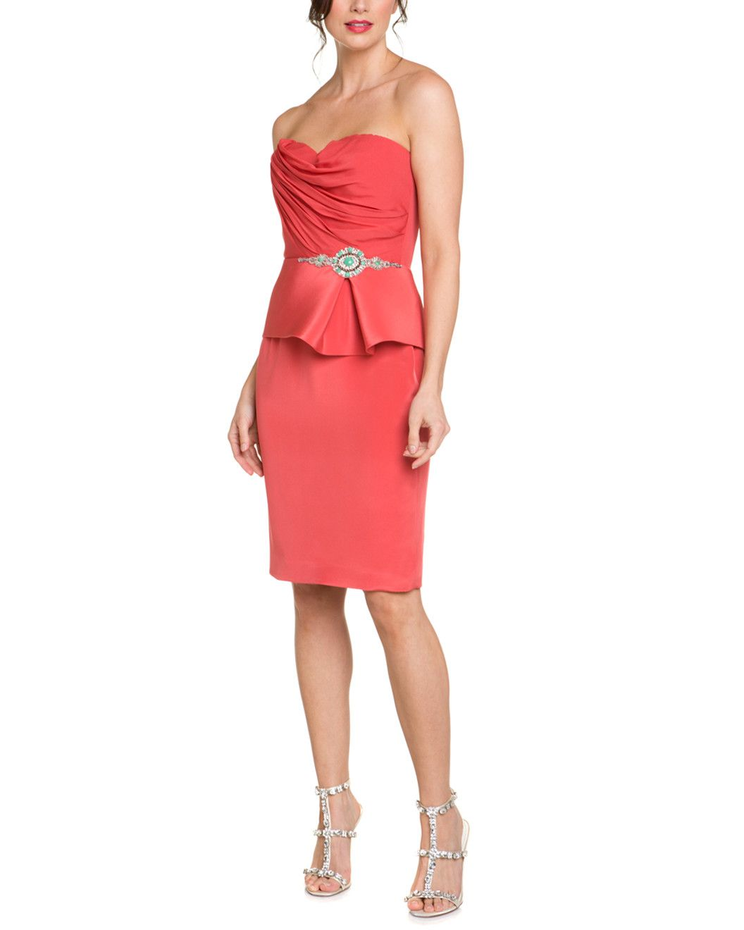Buy Coral strapless peplum dress picture trends