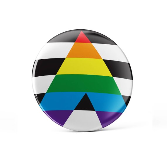39e160dd0c677 Straight ally pin button, LGBTQ flag, straight pin button, straight ...