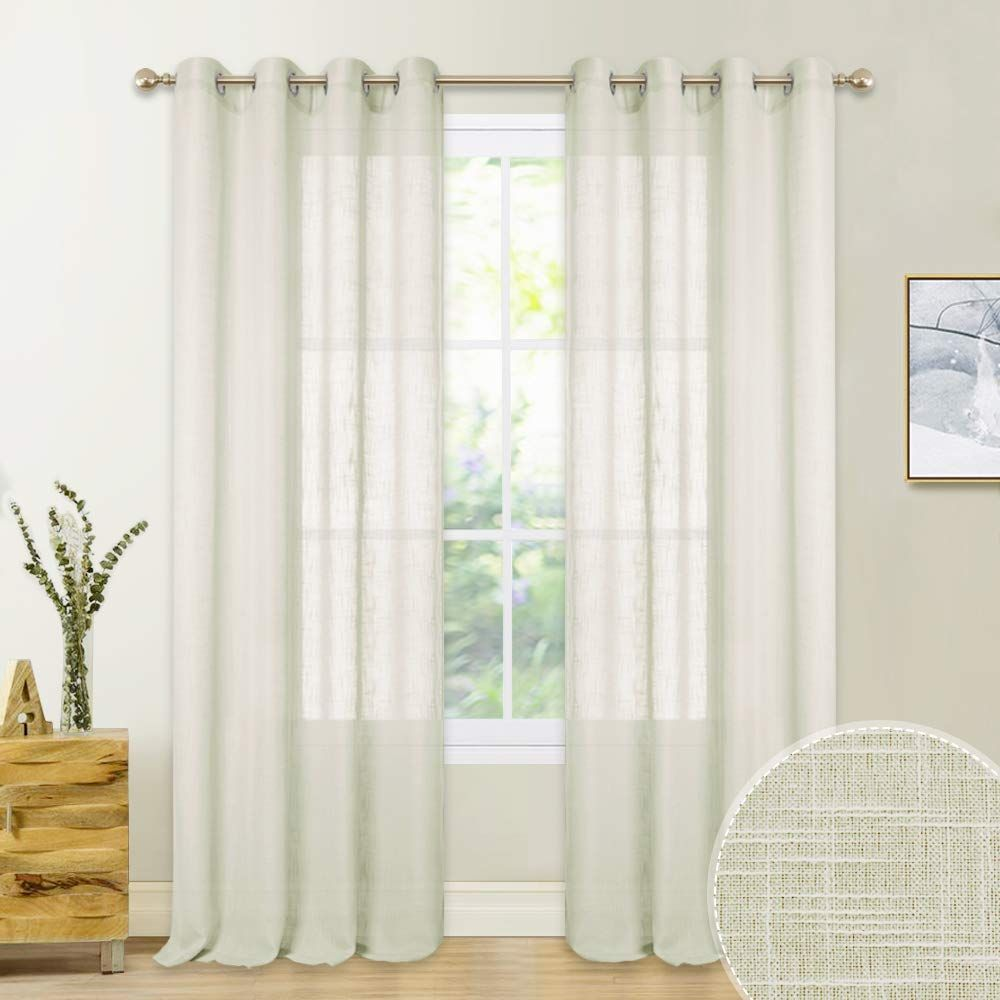 Pony Dance Window Curtains Voile Faux Linen Textured Sheers Window Covering Grommet Top Easy Install Light F Curtains Sheer Window Coverings Drapes Curtains