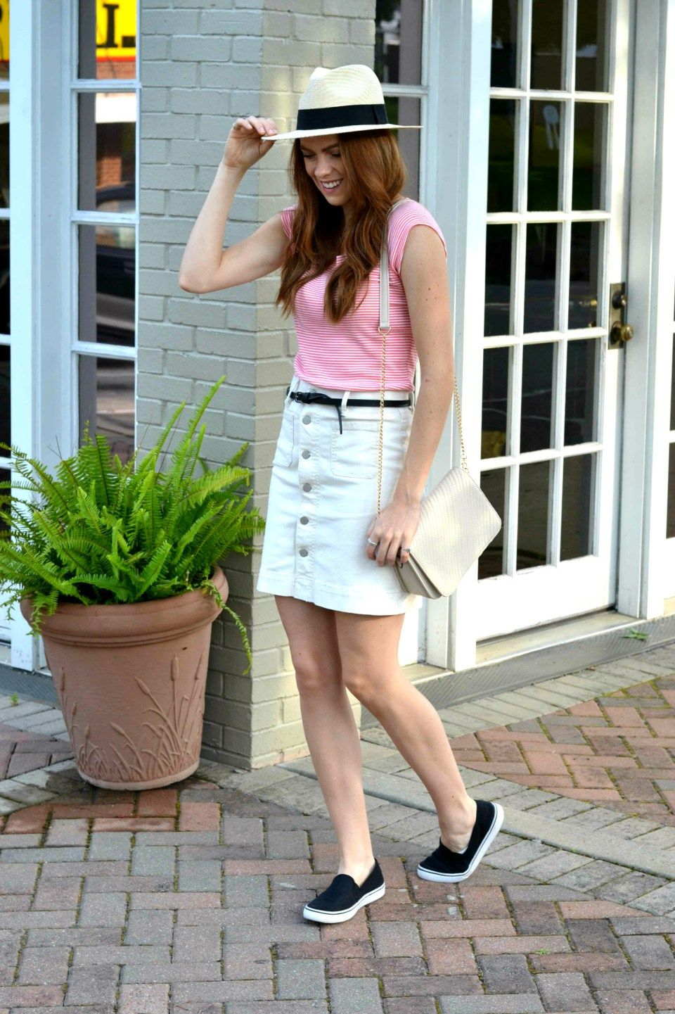 Easy summer outfits for every occasion, striped tee, denim skirt, sneakers