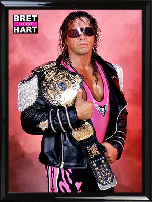 Bret Hart With Winged Eagle Championship Belt Tan Top Eagle Belt