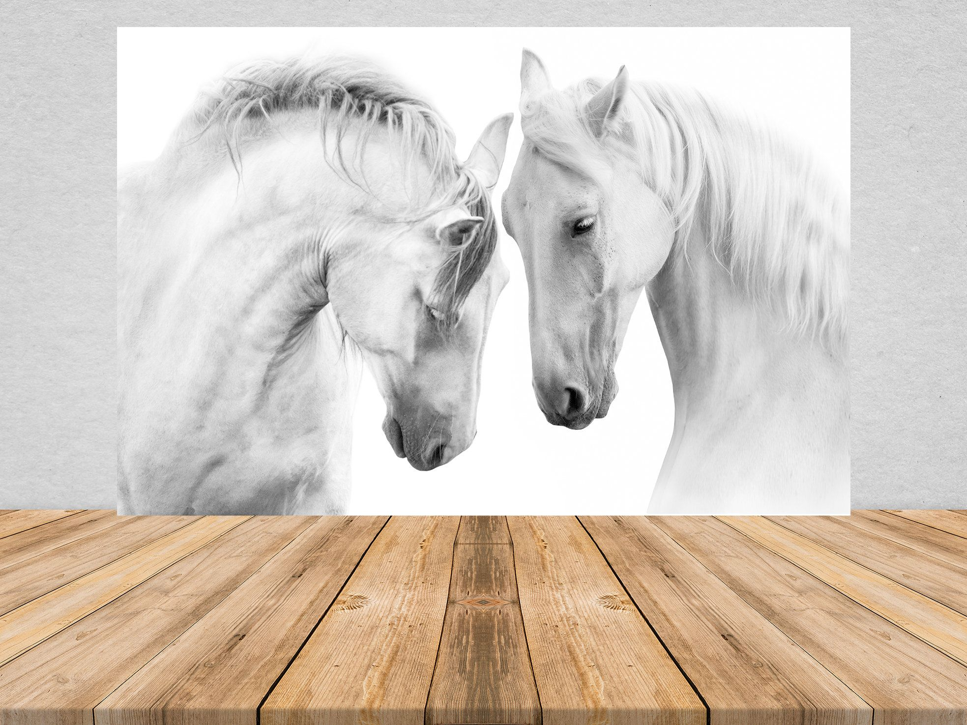Removable Peel And Stick Wallpaper White Horses Wall Mural Etsy Horse Mural Horse Wall White Horses