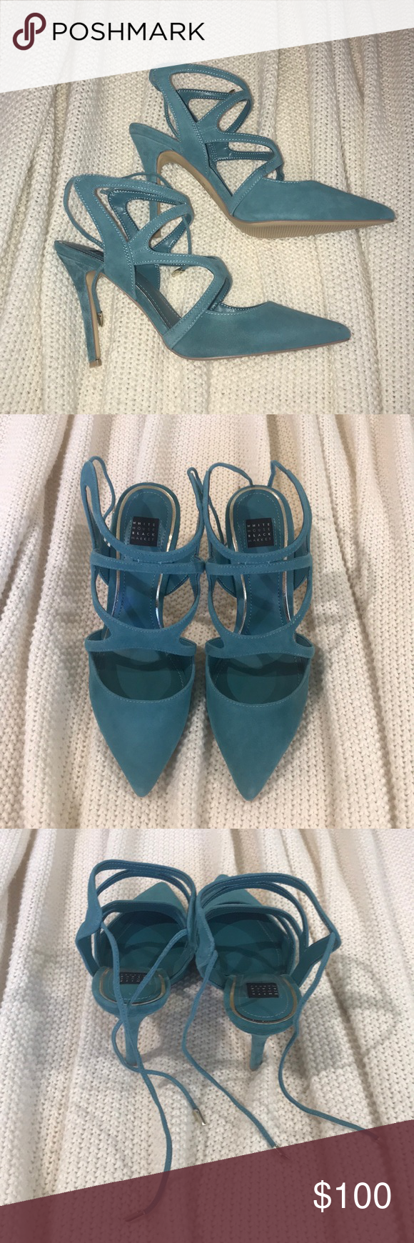 39781fd8641b WHITE HOUSE BLACK MARKET MARLOW HEELS SIZE 7.5 White House Black Market Marlow  Suede strappy heels. Size 7.5. Never worn. White House Black Market Shoes  ...