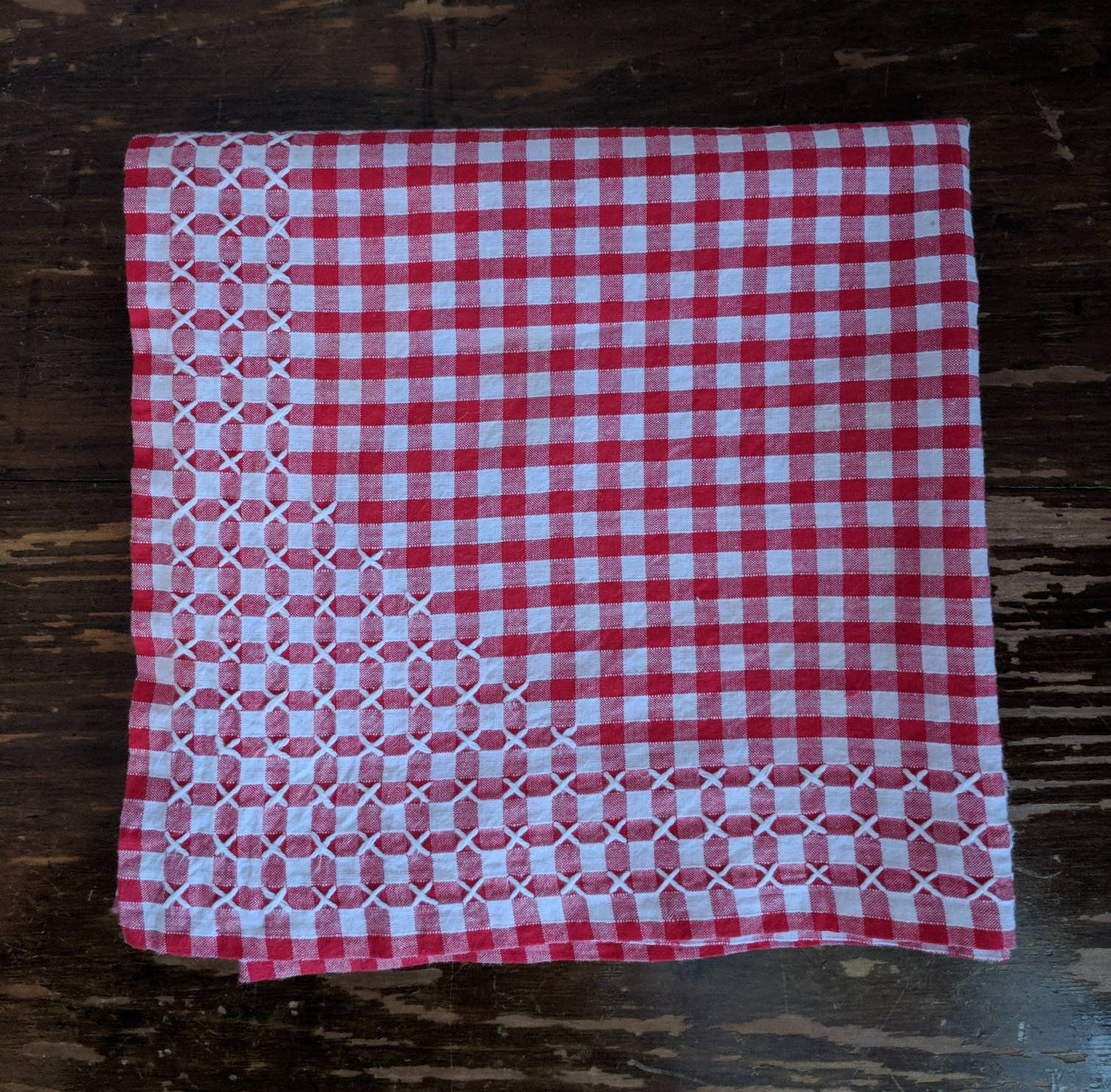 Tablecloth Red And White Gingham Cross Stitch Edge Cross