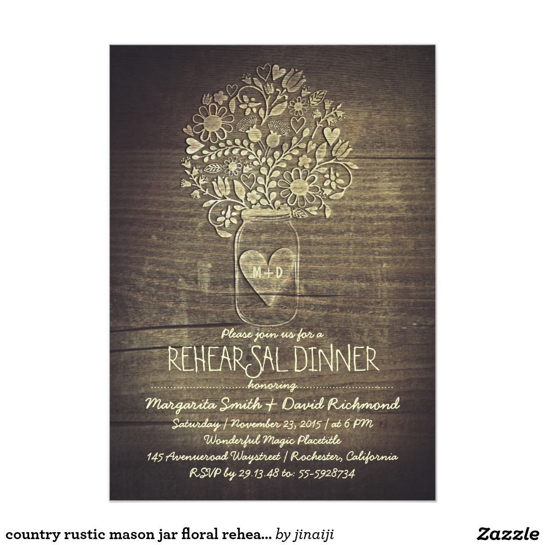 country rustic mason jar floral rehearsal dinner