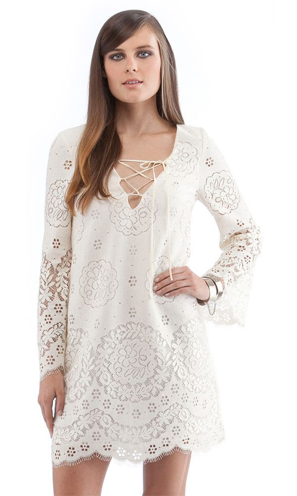 Cynthia Vincent Lace Up Bell Sleeve White Short White Dress