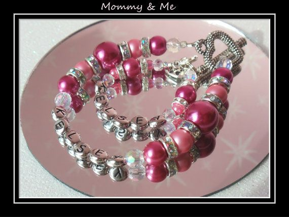 Mommy & Me bracelets for me & my baby girl.  Abitmiller on Etsy, made them for us. Love them so much!