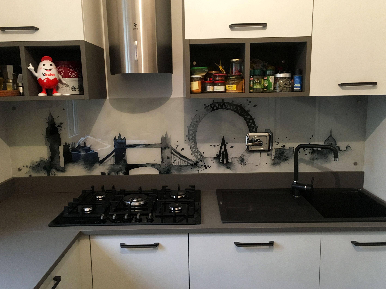 Schienale cucina in vetro extra chiaro retro laccato con decoro ...