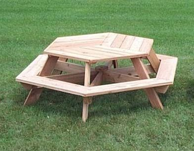 56 Hexagonal Cedar Picnic Table W All Around Seating Pallet