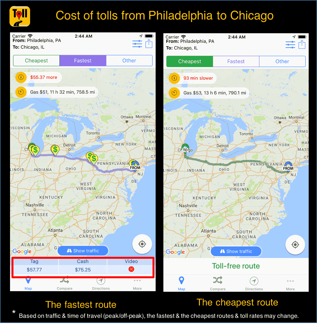 Gas Cost Calculator >> Cost Of Tolls From Philadelphia To Chicago Use Tollguru Toll