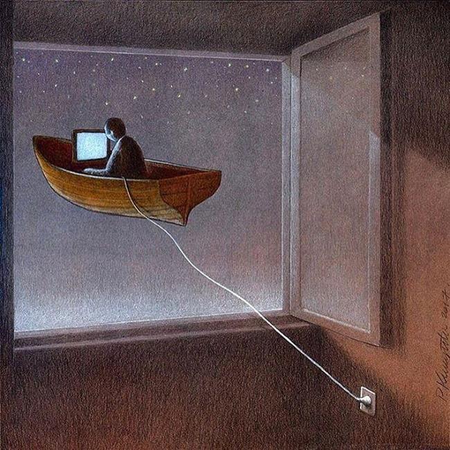 Teknolojinin Modern Dünyaya Etkilerini 20 İllüstrasyon ile Özetleyen Sanatçı: 'Pawel Kuczynski