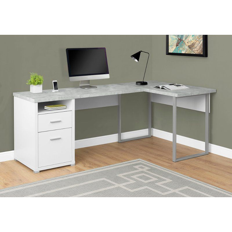 White And Concrete Gray L Shaped Computer Desk Home Office Computer Desk L Shaped Corner Desk Cheap Office Furniture
