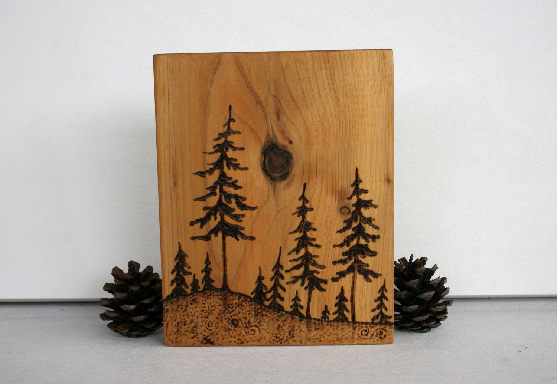 Pine Trees Art Block Woodburning By TwigsandBlossoms On Etsy