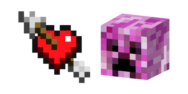 Minecraft Heart With Arrow And Pink Creeper Minecraft Heart Heart With Arrow Minecraft Pixel Art