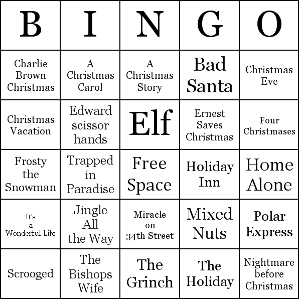 Christmas movie bingo cards Holidays Pinterest – Sample Christmas Game