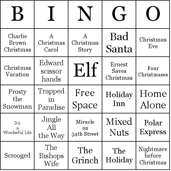 Christmas Movie Bingo Cards  Holidays    Movie