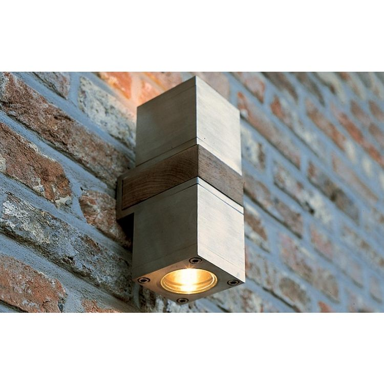 Royal Botania Qubic Modern Stainless Steel Teak 2 Light Outdoor Wall Sconce In 2020 Outdoor Wall Mounted Lighting Outdoor Wall Lamps Outdoor Wall Lighting