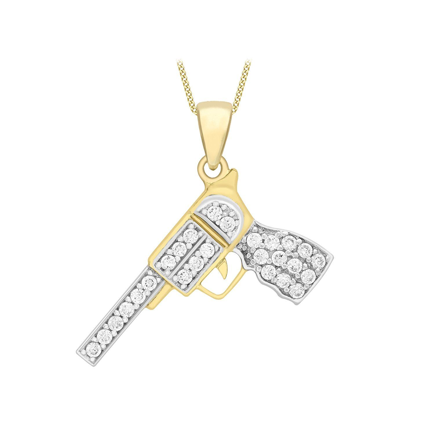 Carissima Gold 9 ct Yellow Gold Cubic Zirconia Cross Pendant on Curb Chain Necklace of 46 cm/18 inch iv3TK
