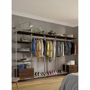 Space Pro The Relax 247cm Wide Clothes Storage System combines form and function allowing you to choose from a range of stylish components to create a completely personalized living space. Finish: Walnut