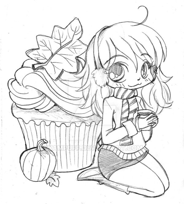 Pumpkin Spice Cupcake Girl by YamPuff coloriage anime