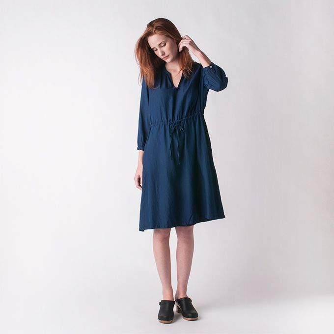 BLUE BLUE JAPAN - Cotton Silk Twill Dress in Indigo