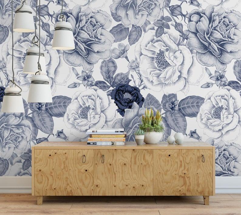 Vintage Navy Roses Removable Wallpaper Blue And White Etsy Traditional Wallpaper Removable Wallpaper Rose Wallpaper