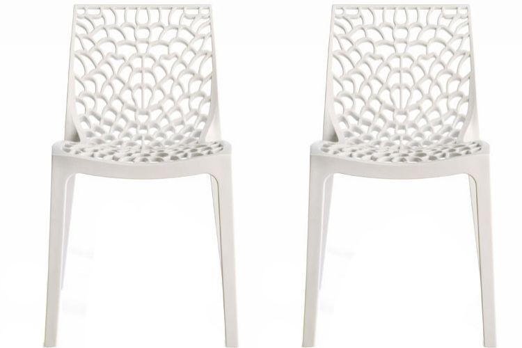 lot de 2 chaises design blanche gruyer | Salle à manger | Pinterest