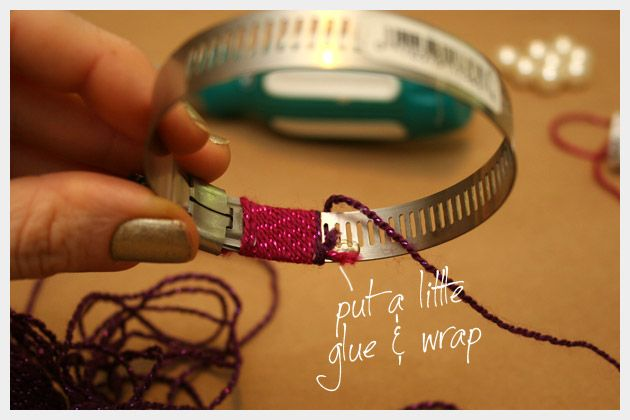Hose Clamp for a Bangle ... GENIUS!!!!  DIY Bracelet Wrapped and Beaded