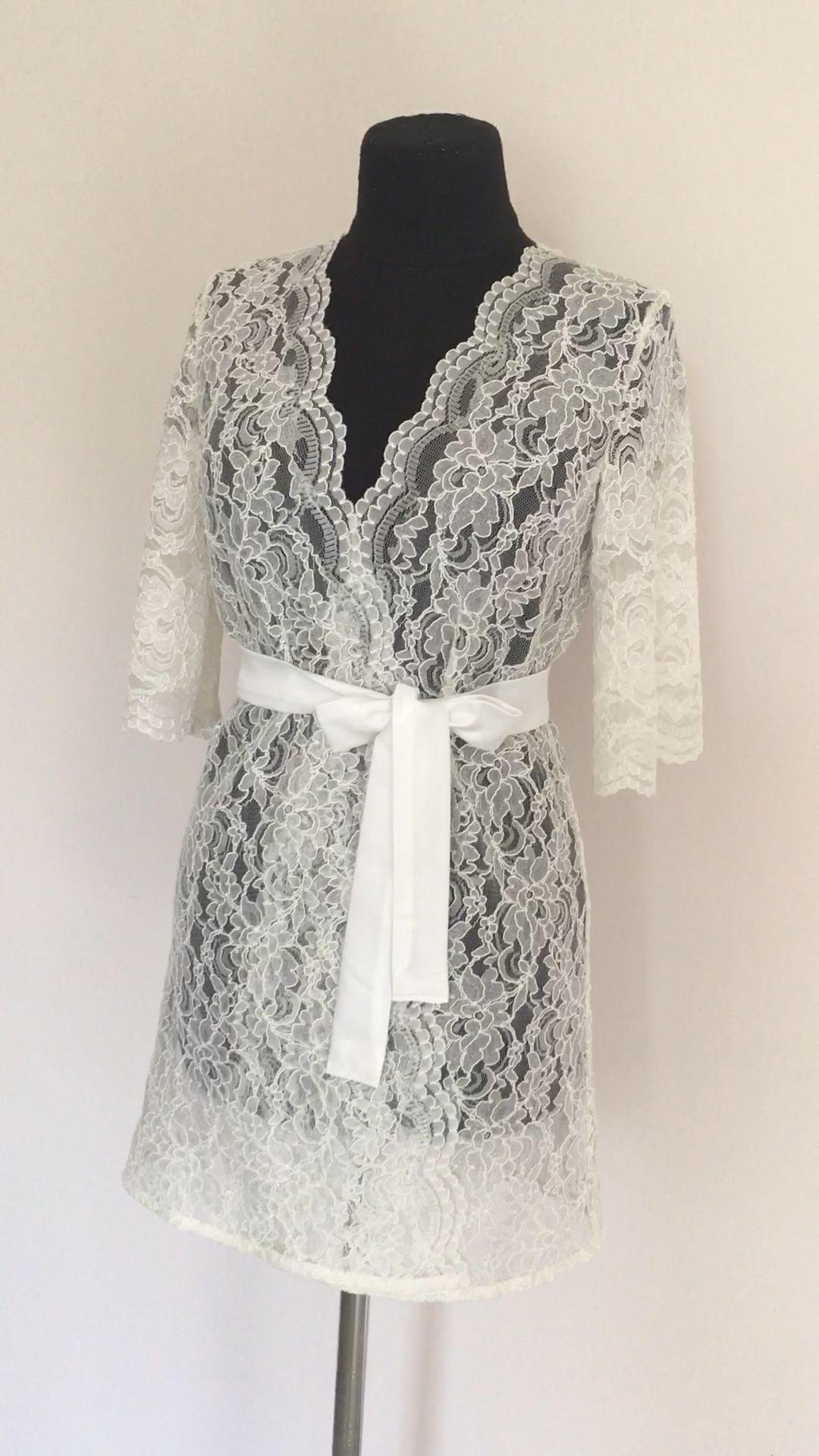 Ivory lace robe lace bridal robe lace wedding dress ivory | Etsy -   19 lace dress 2019 ideas