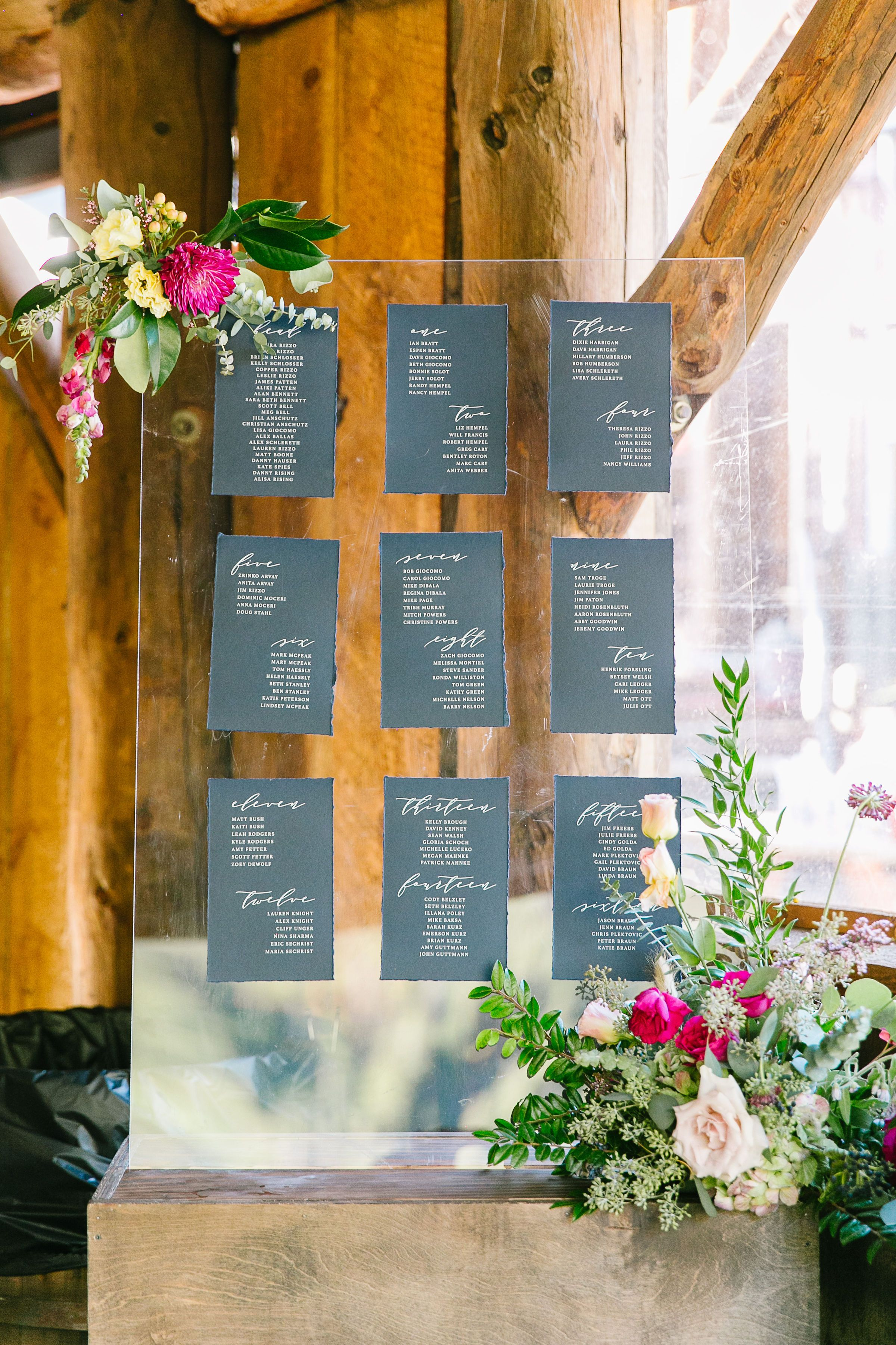 Modern Rustic Wedding Table Seating Chart- Navy Deckle Acrylic Table  Seating Chart Display | Rustic modern wedding, Seating chart wedding diy, Rustic  wedding table