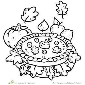 Preschool Thanksgiving Food Coloring Pages