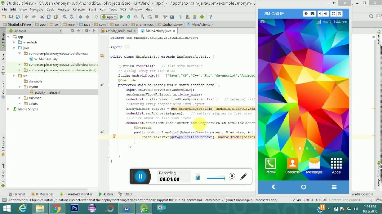 Android ListView Example - Android Studio   Android Codec