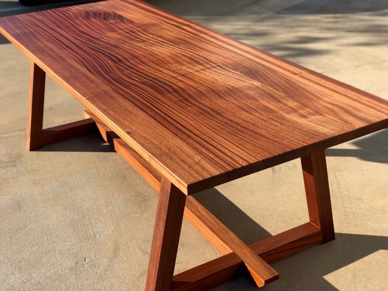 Modern Sapele Wood Dining Table Mahogany Trestle Farmhouse In 2020 Wood Dining Table Mahogany Dining Table Wooden Outdoor Table