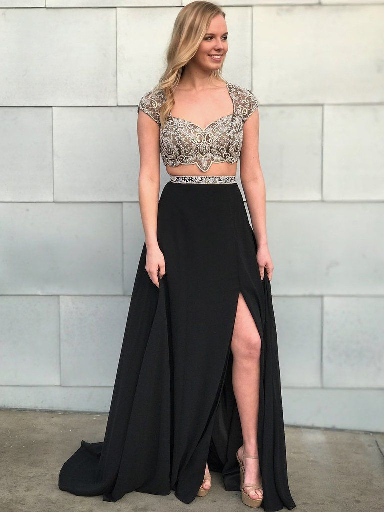 Two piece prom dresses sweetheart black long prom dress sexy evening