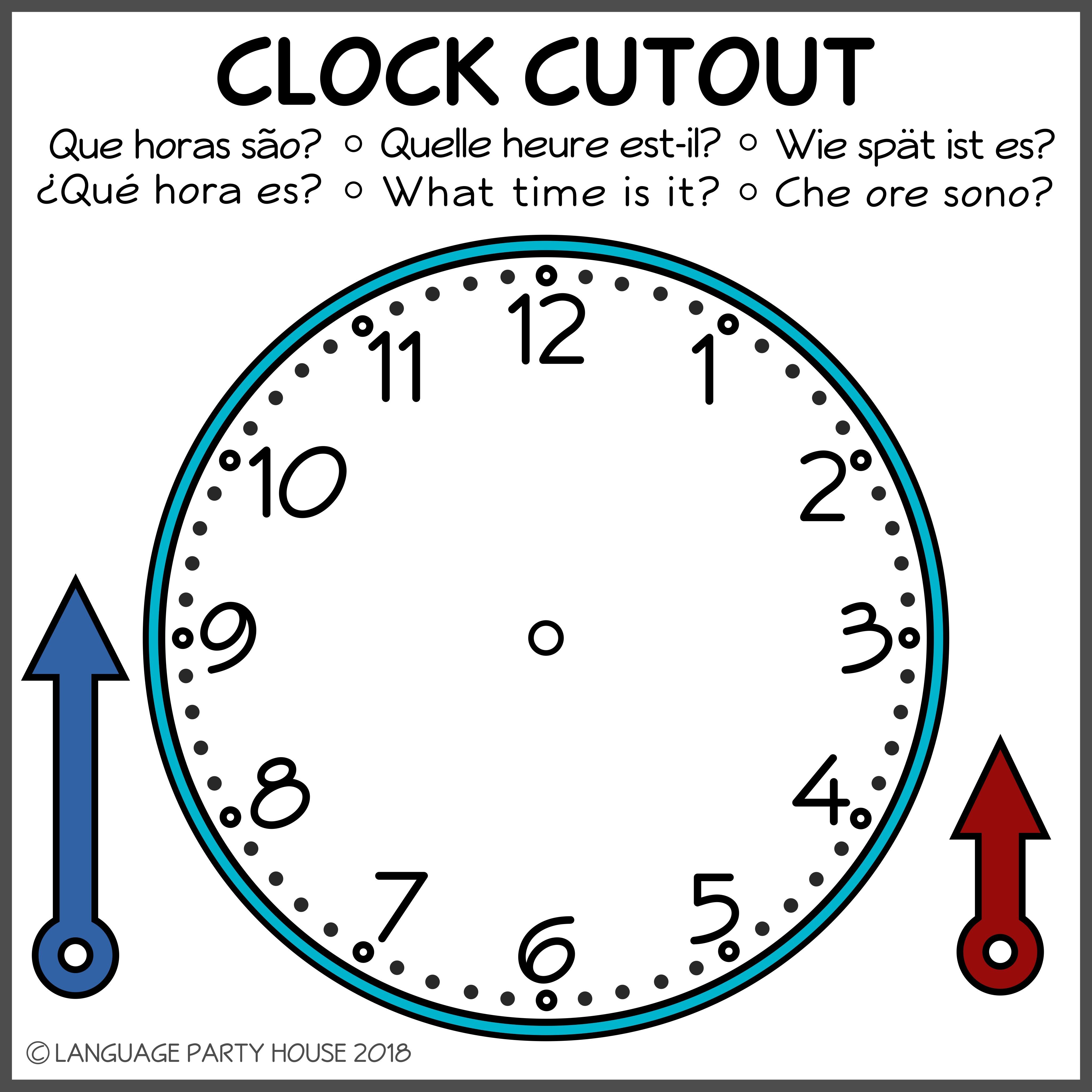 Clock Cutout for Language Learning (High... by Language