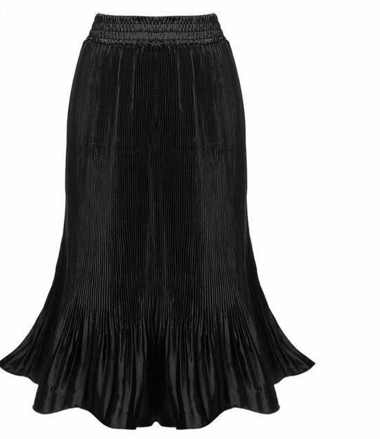 Elegant Shiny Glitter Long Flared Skirt with High Waist in Different Colors