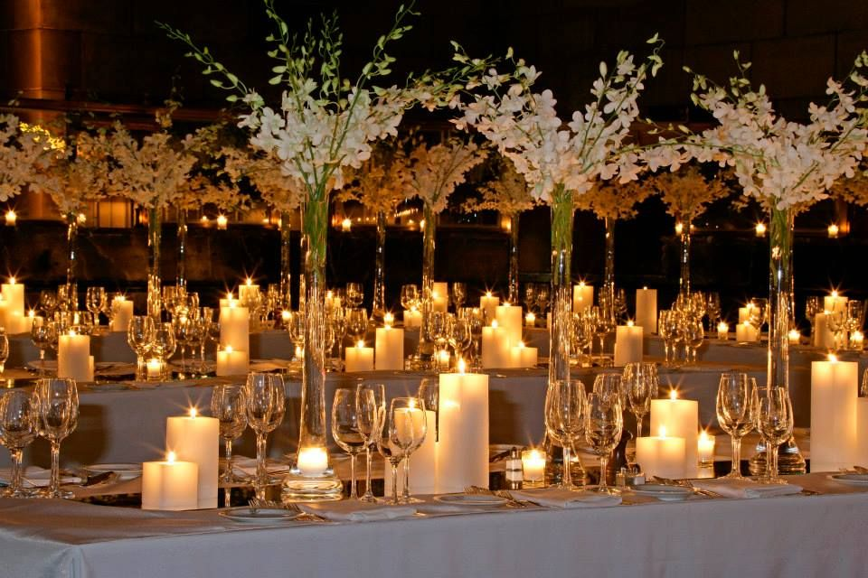 The reception table designs will consist of 12 wide or for Glass tables for wedding reception