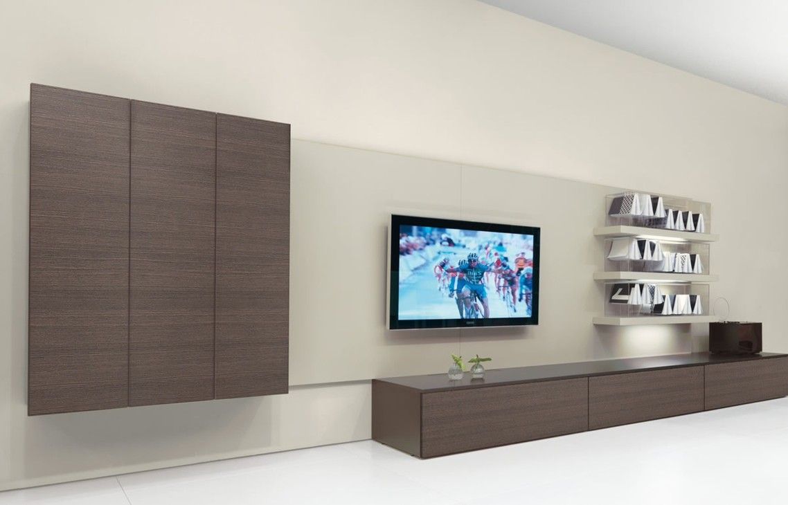 Fabulous design ideas of home living room with big tv on for Modern living room shelving units