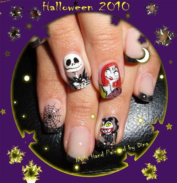 Jack and Sally | nail art jack | Pinterest | Sally