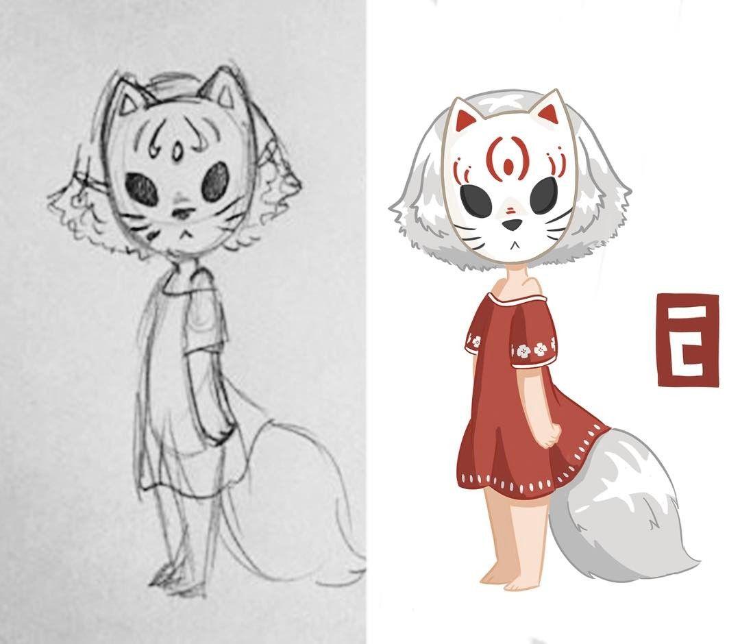 The curse of the fox mask sketch ❤ #original #art #art #sketch ...