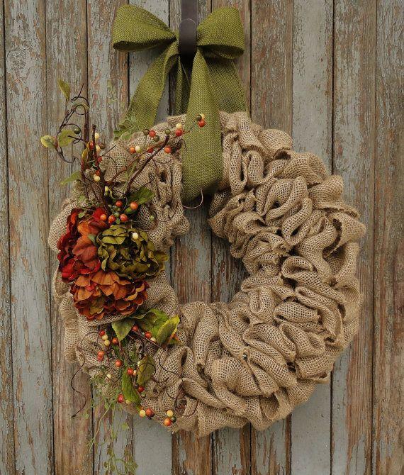 Autumn Peony Burlap WreathFall Burlap Wreath by WhimsyChicDesigns