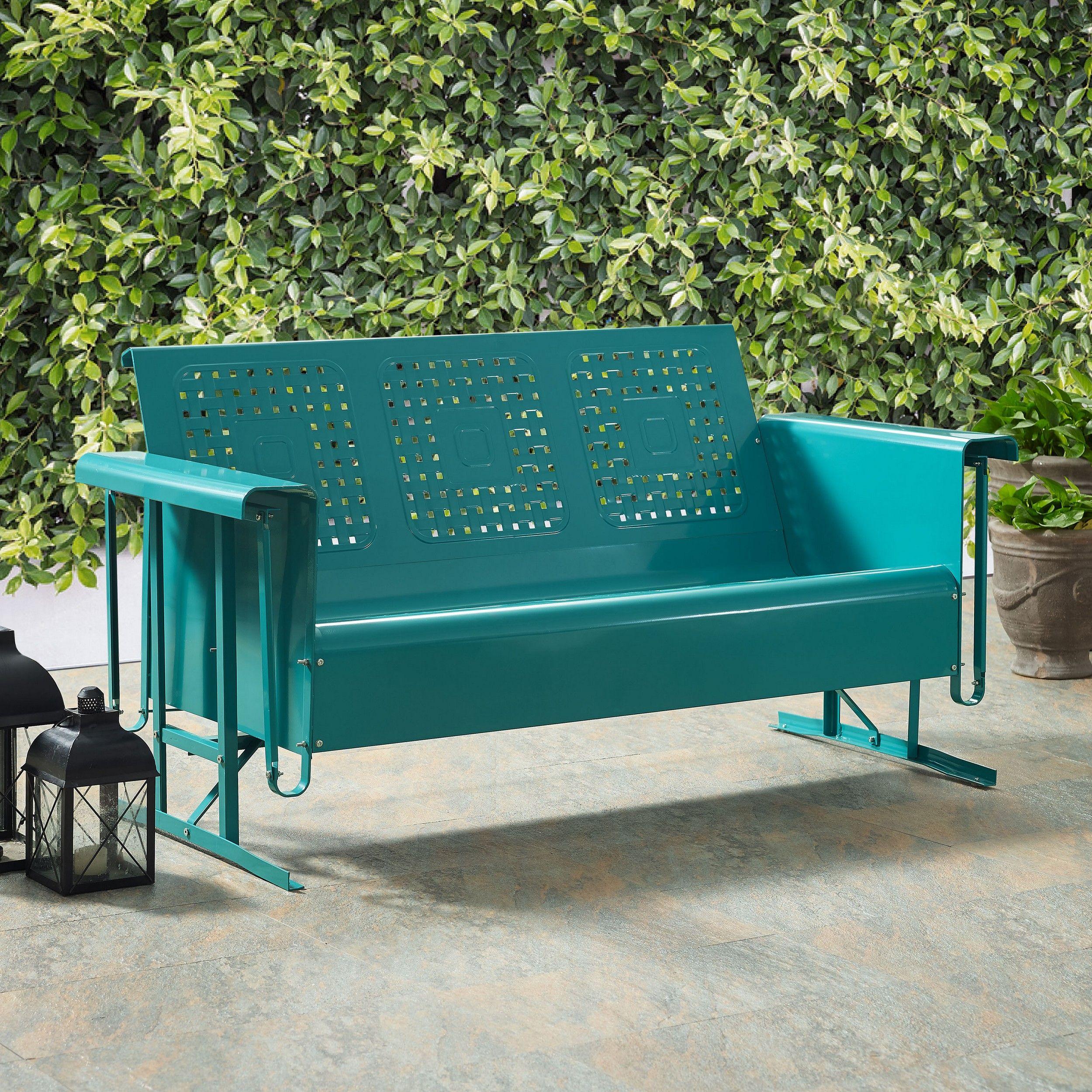 Crosley Co1023 Tu Bates Turquoise Metal Sofa Glider Special Buy F Outdoor Sofa Outdoor Furniture Metal Sofa