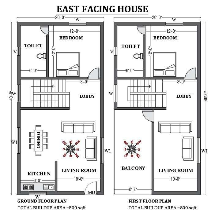 20'x40' East facing house plan design as per vastu shastra is given in this FREE 2D Autocad drawing file Download now