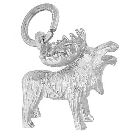 Moose Charm $25 https://www.charmnjewelry.com/category/sterling_silver/Animal_Charms.htm #AnimalCharm