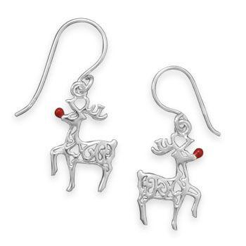 925 Sterling Silver Polished Blue Enamel Santa with Reindeer Circle Charm Pendant