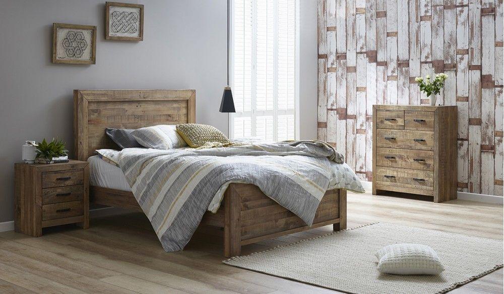 Rustic 4 Pce Tallboy Bedroom Suite Furniture King Bedroom