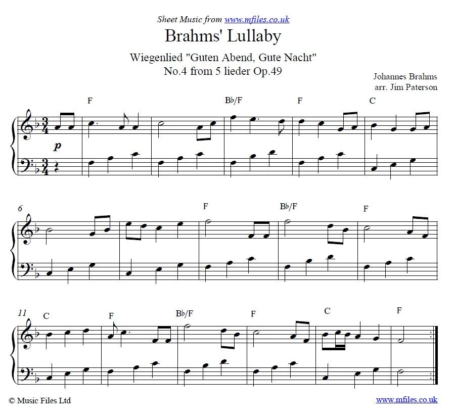 Brahms Lullaby Arranged For Easy Piano With Images Sheet